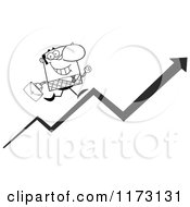 Cartoon Of A Grayscale Businessman Running Up A Success Arrow Royalty Free Vector Clipart