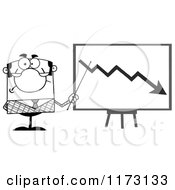 Cartoon Of A Grayscale Businessman Presenting A Decline Statistics Chart Royalty Free Vector Clipart