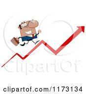 Cartoon Of A Black Businessman Running Up A Success Arrow Royalty Free Vector Clipart