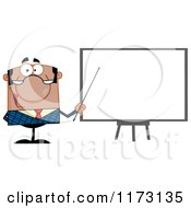 Cartoon Of A Black Businessman Presenting By A Blank Board Royalty Free Vector Clipart