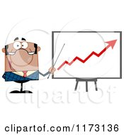 Cartoon Of A Black Businessman Presenting A Growth Statistics Chart Royalty Free Vector Clipart