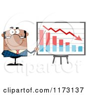 Cartoon Of A Black Unhappy Businessman Presenting A Decline Statistics Graph Royalty Free Vector Clipart by Hit Toon