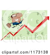 Cartoon Of A Black Businessman Running Up A Success Arrow Over Green Royalty Free Vector Clipart