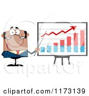 Cartoon Of A Black Businessman Presenting A Growth Statistics Graph Royalty Free Vector Clipart