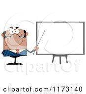 Cartoon Of A Black Unhappy Businessman Presenting Board Royalty Free Vector Clipart