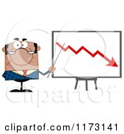 Cartoon Of A Black Unhappy Businessman Presenting A Decline Statistics Chart Royalty Free Vector Clipart