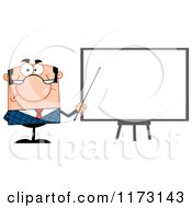 Cartoon Of A White Unhappy Businessman Presenting Board Royalty Free Vector Clipart
