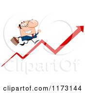 Cartoon Of A White Businessman Running Up A Success Arrow Royalty Free Vector Clipart