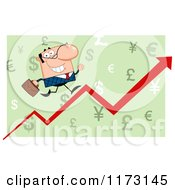 Cartoon Of A White Businessman Running Up A Success Arrow Over Green Royalty Free Vector Clipart