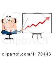Cartoon Of A White Businessman Presenting A Growth Statistics Chart Royalty Free Vector Clipart