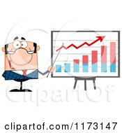 Cartoon Of A White Businessman Presenting A Growth Statistics Graph Royalty Free Vector Clipart