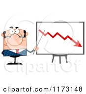 Cartoon Of A White Unhappy Businessman Presenting A Decline Statistics Chart Royalty Free Vector Clipart
