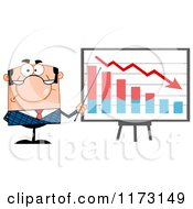 Cartoon Of A White Unhappy Businessman Presenting A Decline Statistics Graph Royalty Free Vector Clipart by Hit Toon