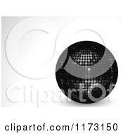 Clipart Of A 3d Black Disco Ball On A Shaded Background Royalty Free Vector Illustration