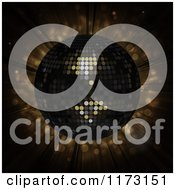 Clipart Of A 3d Black Disco Ball Over Brown Flares Royalty Free Vector Illustration
