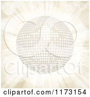 Clipart Of A 3d White Disco Ball On A Beige Burst Royalty Free Vector Illustration