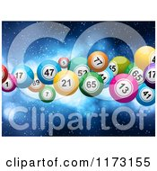Clipart Of 3d Colorful Lottery Or Bingo Balls Floating Over Blue Royalty Free Vector Illustration