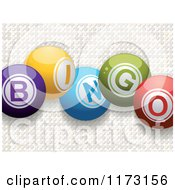 Clipart Of 3d Colorful Bingo Balls Over White Mosaic Royalty Free Vector Illustration