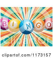 Clipart Of 3d Colorful Bingo Balls Over A Grungy Retro Burst Royalty Free Vector Illustration