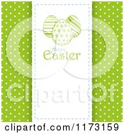 Clipart Of A Happy Easter Panel With Eggs Over Green With White Polka Dots Royalty Free Vector Illustration