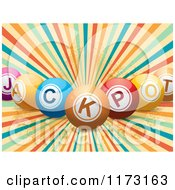 Clipart Of 3d Colorful Jackpot Balls Over A Retro Burst Royalty Free Vector Illustration