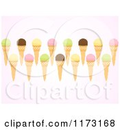 Clipart Of Pixelated Ice Cream Cones Over Pink Royalty Free Vector Illustration by elaineitalia