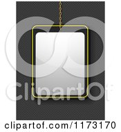 Clipart Of A Suspended Blank Sign Over Carbon Fiber Royalty Free Vector Illustration by elaineitalia
