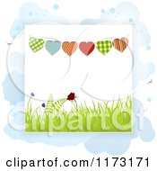 Clipart Of Heart Buntings Over Spring Grass And Butterflies On Clouds Royalty Free Vector Illustration