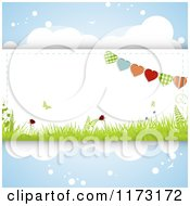 Clipart Of Heart Buntings And Spring Grass And Butterflies On Clouds Royalty Free Vector Illustration
