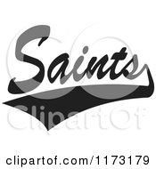 Clipart Of A Black And White Tailsweep And Saints Sports Team Text Royalty Free Vector Illustration