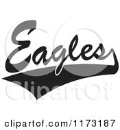 Clipart Of A Black And White Tailsweep And Eagles Sports Team Text Royalty Free Vector Illustration