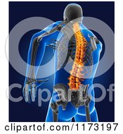 Clipart Of A 3d Xray Man With A Glowing Spine And Visible Skeleton Royalty Free CGI Illustration