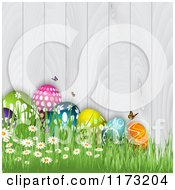 Clipart Of Easter Eggs Butterflies Flowers And Grass Against A White Wooden Fence Royalty Free Vector Illustration