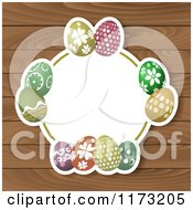Clipart Of A White Frame With Easter Eggs Over Wood Royalty Free Vector Illustration