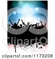 Clipart Of A Silhouetted Party Crowd Over Grunge And Flares Royalty Free Vector Illustration
