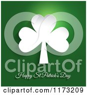 Happy St Patricks Day And White Shamrock Clover On Green