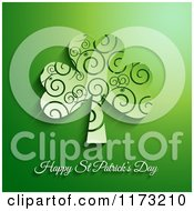 Clipart Of A Happy St Patricks Day And Spiral Shamrock Clover On Green Royalty Free Vector Illustration
