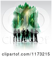 Clipart Of A Silhouetted Group Of People Over Green And Yellow Arrows Pointing Up On Gray Royalty Free Vector Illustration