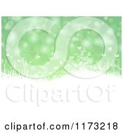 Clipart Of Silhouetted White Plants And Butterflies Over Green Flares Royalty Free Vector Illustration