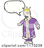 Cartoon Of King With Conversation Bubble Royalty Free Vector Illustration by lineartestpilot