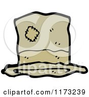 Cartoon Of Brown Hat With Patches Royalty Free Vector Illustration