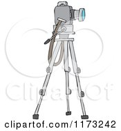 Cartoon Of A Camera On A Tripod Stand Royalty Free Vector Clipart