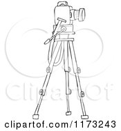 Cartoon Of An Outlined Camera On A Tripod Stand Royalty Free Vector Clipart by djart