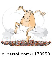 Cartoon Of A Circus Side Show Performer Man Walking On Hot Coals Royalty Free Vector Clipart