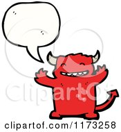 Cartoon Of Red Devil With Conversation Bubble Royalty Free Vector Illustration