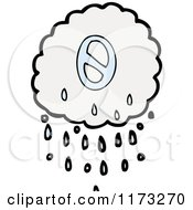 Cartoon Of Raincloud With Number Zero Royalty Free Vector Illustration