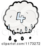 Cartoon Of Raincloud With Number Four Royalty Free Vector Illustration