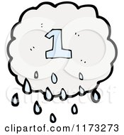 Cartoon Of Raincloud With Number One Royalty Free Vector Illustration