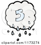 Cartoon Of Raincloud With Number Five Royalty Free Vector Illustration