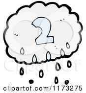 Cartoon Of Raincloud With Number Two Royalty Free Vector Illustration